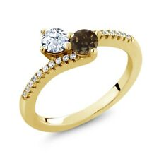0.83 Ct White Topaz Brown Smoky Quartz 18K Yellow Gold Plated Silver Ring