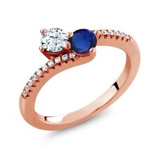 0.57 Ct Round White Topaz Two Stone 18K Rose Gold Plated Silver Ring