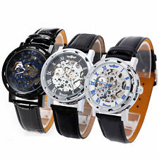 New Automatic Self Wind Men's Watches Skeleton Mechanical Black Leather Watch