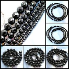 """Natural Black Onyx Faceted Round Beads 15"""", 3,4,6,8,10mm, Pick your size"""