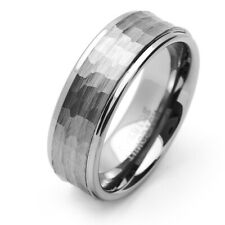 9MM Comfort Fit Tungsten Carbide Wedding Band Brushed Hammered Ring