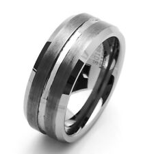 9MM Comfort Fit Tungsten Carbide Wedding Band Beveled Edges Ring / Free Gift Box
