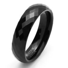 6MM Comfort Fit Tungsten Carbide Wedding Band Faceted Domed Black Ring