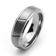 7MM Comfort Fit Tungsten Carbide Wedding Band Grooved Center Beveled Edges Ring