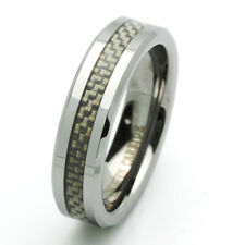 Men 6MM Tungsten Carbide Wedding Band Beveled Edges Carbon Fiber Inlay Ring