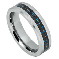 Men 6MM Comfort Fit Tungsten Carbide Wedding Band Carbon Fiber Inlaid Ring