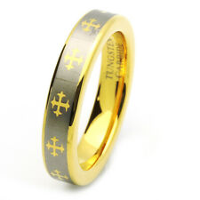 Men 5MM Comfort Fit Tungsten Carbide Wedding Band Gold Tone Celtic Cross Ring