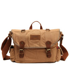 Men Vintage Canvas Briefcase Cross-Body Satchel Laptop Shoulder Messenger Bag