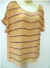 SO FABULOUS CAMEL SEQUIN EMBELLISHED TOP SIZE 14 NWT