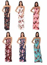 Women Ladies Floral Print Sleeveless Bandeau Strapless Sharing Casual Maxi Dress