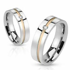 Women's ring in stainless steel with Rose gold Inlay and Zirconia Crystal inset