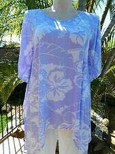 BNWT Plus Size Asymetrical Lilac Printed Tunic Top –Sizes 18,20,22,24,26,28,30