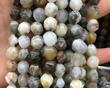 Natural Gemstone Beads Bamboo Agate Nugget Faceted Bead Loose Bead 8mm 10mm 12mm