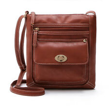 Womens Shoulder Bag With Front Pocket Fashion PU Leather Crossbody Messenger New
