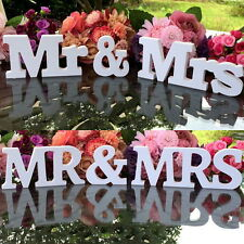 White Mr and Mrs Letters Sign Wooden Standing Top Table Wedding Decoration #