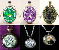 Wiccan Pagan Glass Photo Cabochon Pentagram/Pentacle Necklace, 18-20 inches,