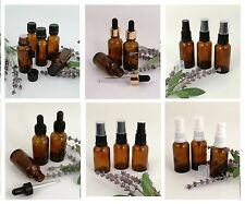Amber Glass Bottle 10ml -100ml  for Storing Essential Oils, Perfumes CHOOSE CAP