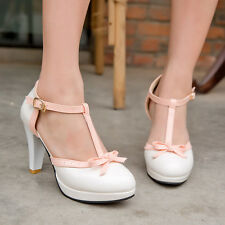 Womens Sweet Lolita Bowknot T-Strap Buckle High Heel Mary Jane Pumps Court Shoes