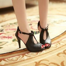 Womens Peep Toe Hollow Out Sweet Buckle Strap Stilettos High Heels Shoes