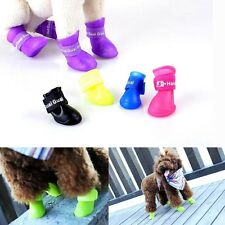 4Pcs/Set Waterproof Pet Dog Puppy Protective Rain Walk Shoes Boots Anti-Slip New