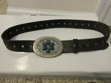 WOMENS STREETS AHEAD BROWN LEATHER BELT W/ PEWTER RHINESTONE PEWTER BUCKLE SZ L