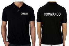 Mens Work Wear Uniform Polo T-shirts Short Sleeve COMMANDO Printed Text Shirt