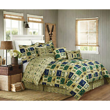 Twin Full Queen King Bed Beige Blue Green Lake Cabin 7 pc Comforter Set Bedding
