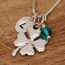 925 Sterling Silver Personalised Lucky Clover Pendant Necklace &Birthstone Boxed