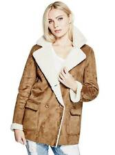 NWT GUESS Simone Faux Suede Sherpa Bomber Fur Jacket Brown White XS, S, M, L
