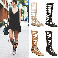 Women Ladies Strappy Gladiator Cut Out Sandals Knee High Boots Flat Summer Shoes