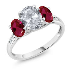 10K White Gold 2.30 Ct Oval White Topaz Red Created Ruby 3-Stone Ring