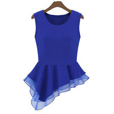 Blouse Chiffon Women T-Shirt Irregular Sleeveless Tops 1 PCS Frill Summer Vest