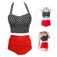 Women Pin Up Polka Dot Hot Bikini Bra + Panty New Sexy 1 Set