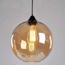 Amber Yellow Glass Lamp Shade Vintage Industrial Ceiling Pendant Light Fitting