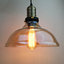 Amber Glass Shade Vintage Fitting Ceiling Pendant Light Bar Lamp Chandelier
