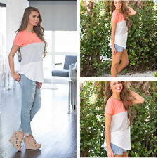Women Ladies Summer O-Neck Causal Stitching Hit Color Short Sleeve T-shirt tops