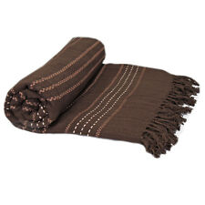 100% Cotton Woven Throws - Chocolate Brown Luxury Thermal Throw Over / Bedspread