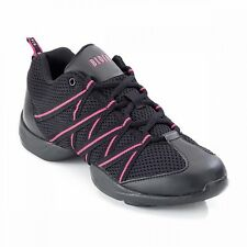 Girls Bloch 524 Black & Pink Criss Cross Mesh Dance Sneakers