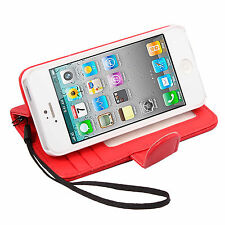 Card Wallet PU Leather Case Cover Pouch For Apple iPhone 5 5G Flip Stand