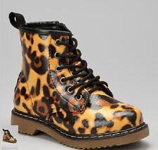 Coco Jumbo Cheetah Patent Jane Boots Big Girls Size 4.5-7 Y