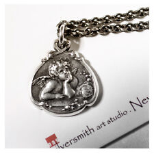 Holiday Gift Idea Sterling Silver Cherub Guardian Angel Charm Pendant Necklace