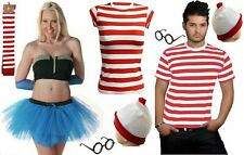 WOMEN'S GIRLS RED & WHITE STRIPS T-SHIRT KIT HEN PARTY COSTUME BOOK WEEK DAY