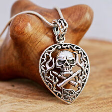 Sterling Silver Handcrafted Gothic Skull Pendant With Snake Chain Necklace Boxed