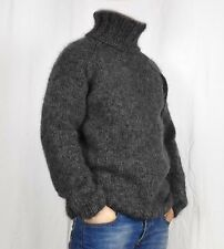 Hand Knitting WOOL MOHAIR Pullover Men Sweater Turtleneck soft thick Jumper GRAY