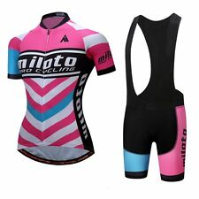Pink Women's Cycling Clothes Reflective Bike Jersey and Spandex Bib Shorts Kit