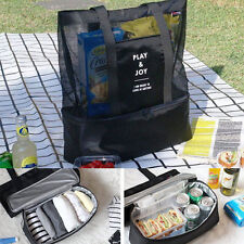 Amazing Lunch Bag Insulated Cooler Picnic Bag Mesh Beach Tote Bag Food Drink