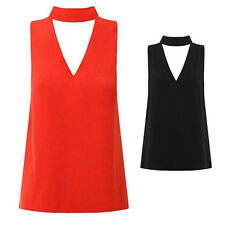 V Neck Plunge Blouse High Neck Cut Out Sleeveless Hanging Neck New Shirt Womens