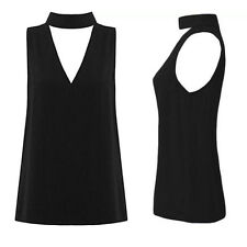 Womens Shirt Hanging Neck Cut Out New Blouse Plunge V Neck Sleeveless High Neck