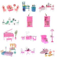 Dolls Furniture Playset Room Items Miniatures Gift Kit for 1:6 Barbie Doll House