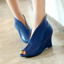 Womens PU Leather High Wedge Heels Sexy Peeptoe Pumps Sandal Shoes